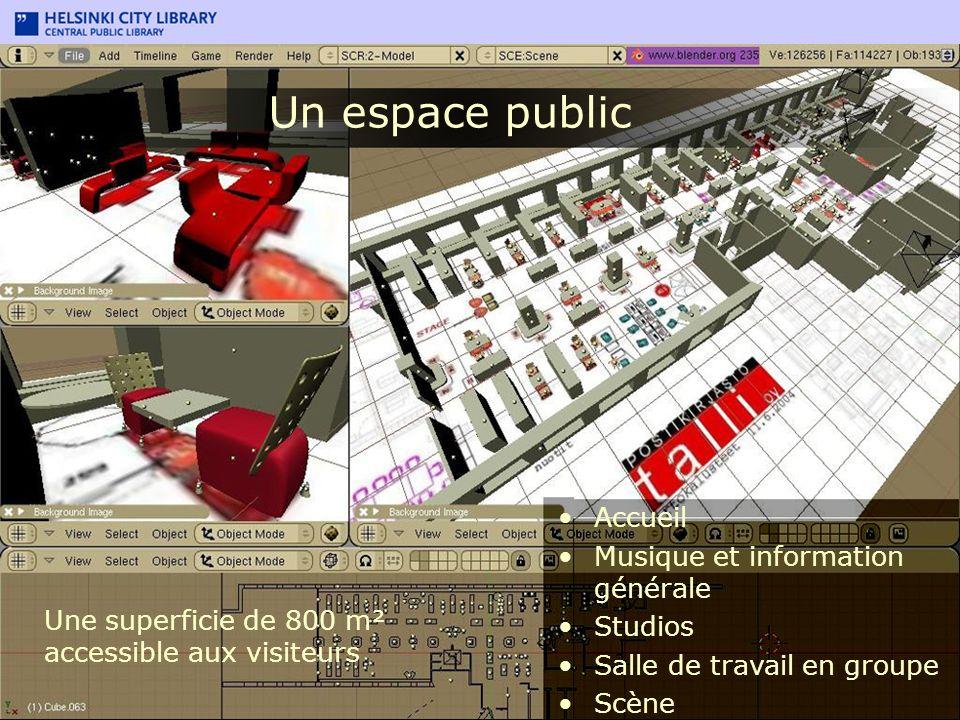 Accueil Musique et information générale Studios Salle de travail en groupe Scène Un espace public Une superficie de 800 m² accessible aux visiteurs
