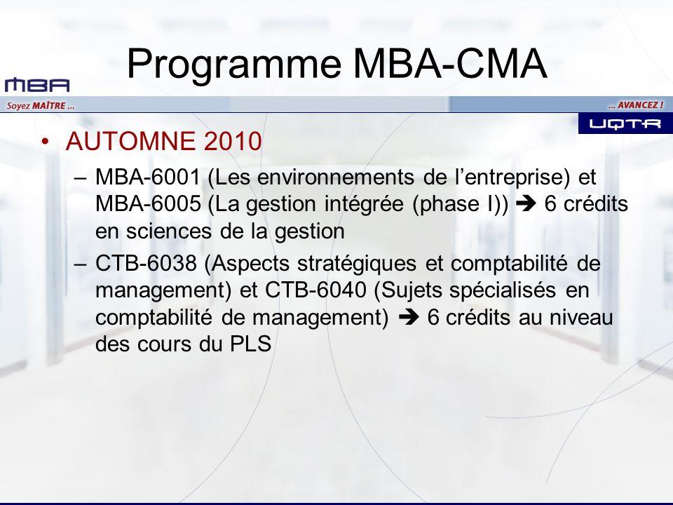 Programme MBA-CMA AUTOMNE 2010 –MBA-6001 (Les environnements de lentreprise) et MBA-6005 (La gestion intégrée (phase I)) 6 crédits en sciences de la gestion –CTB-6038 (Aspects stratégiques et comptabilité de management) et CTB-6040 (Sujets spécialisés en comptabilité de management) 6 crédits au niveau des cours du PLS