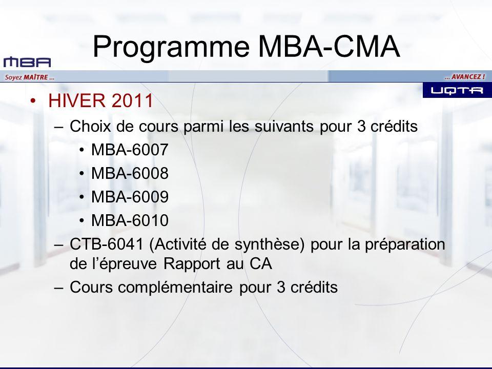 Programme MBA-CMA HIVER 2011 –Choix de cours parmi les suivants pour 3 crédits MBA-6007 MBA-6008 MBA-6009 MBA-6010 –CTB-6041 (Activité de synthèse) po