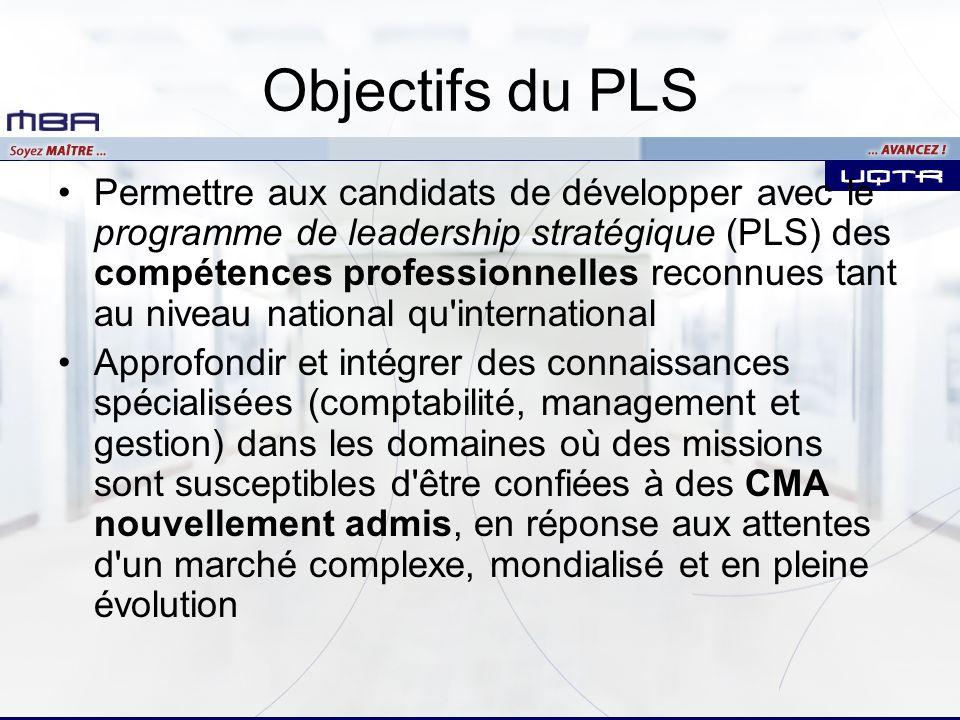 Objectifs du PLS Permettre aux candidats de développer avec le programme de leadership stratégique (PLS) des compétences professionnelles reconnues ta