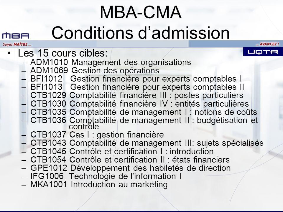Les 15 cours cibles: –ADM1010 Management des organisations –ADM1069 Gestion des opérations –BFI1012 Gestion financière pour experts comptables I –BFI1013 Gestion financière pour experts comptables II –CTB1029 Comptabilité financière III : postes particuliers –CTB1030 Comptabilité financière IV : entités particulières –CTB1035 Comptabilité de management I : notions de coûts –CTB1036 Comptabilité de management II : budgétisation et contrôle –CTB1037 Cas I : gestion financière –CTB1043 Comptabilité de management III: sujets spécialisés –CTB1045 Contrôle et certification I : introduction –CTB1054 Contrôle et certification II : états financiers –GPE1012 Développement des habiletés de direction –IFG1006 Technologie de linformation I –MKA1001 Introduction au marketing