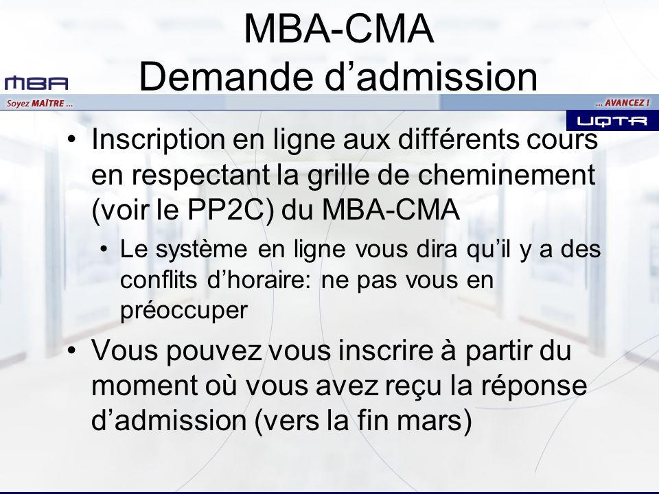 Inscription en ligne aux différents cours en respectant la grille de cheminement (voir le PP2C) du MBA-CMA Le système en ligne vous dira quil y a des conflits dhoraire: ne pas vous en préoccuper Vous pouvez vous inscrire à partir du moment où vous avez reçu la réponse dadmission (vers la fin mars) MBA-CMA Demande dadmission