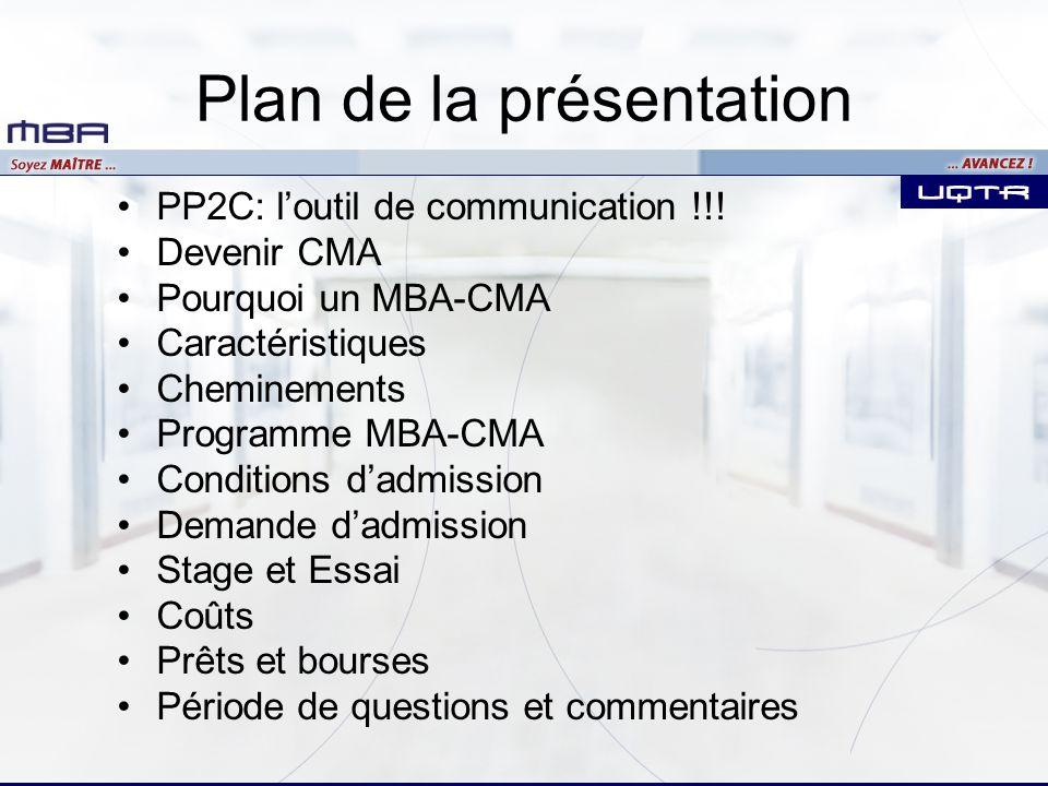 MBA-CA Coûts approximatifs Frais de scolarité (4 sessions) 4 025 $ Matériel pédagogique 300 Épreuve danalyse de cas 650 Cotisation annuelle (CMA-QUÉBEC) 0 Frais du module VII1 000 Total estimatif5 925 $ Coût du PLS de lordre des CMA6 500 $