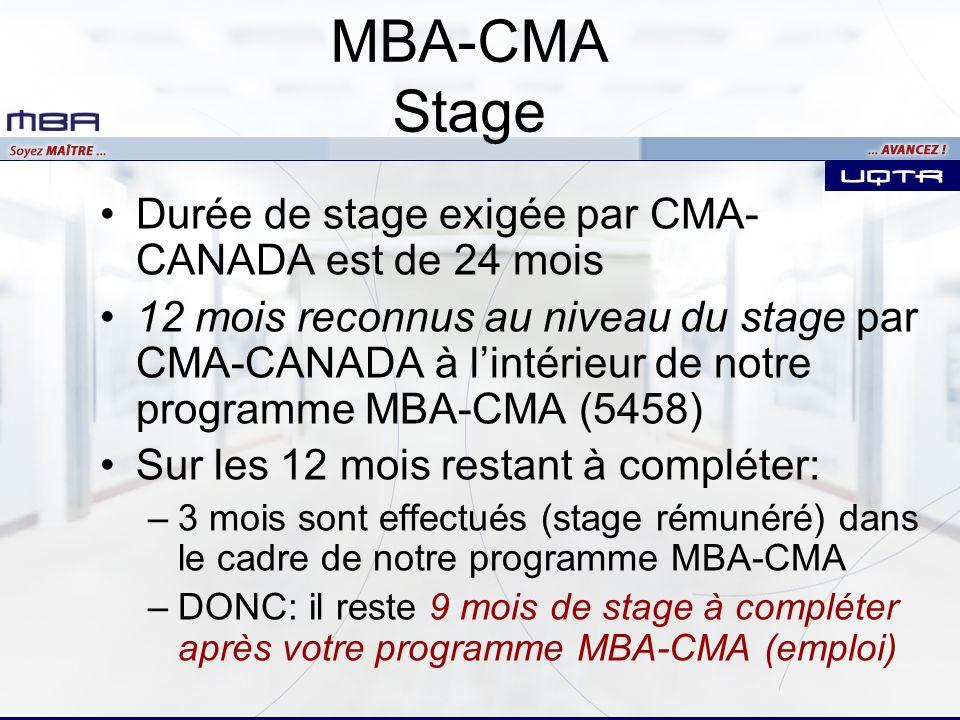 Durée de stage exigée par CMA- CANADA est de 24 mois 12 mois reconnus au niveau du stage par CMA-CANADA à lintérieur de notre programme MBA-CMA (5458) Sur les 12 mois restant à compléter: –3 mois sont effectués (stage rémunéré) dans le cadre de notre programme MBA-CMA –DONC: il reste 9 mois de stage à compléter après votre programme MBA-CMA (emploi)