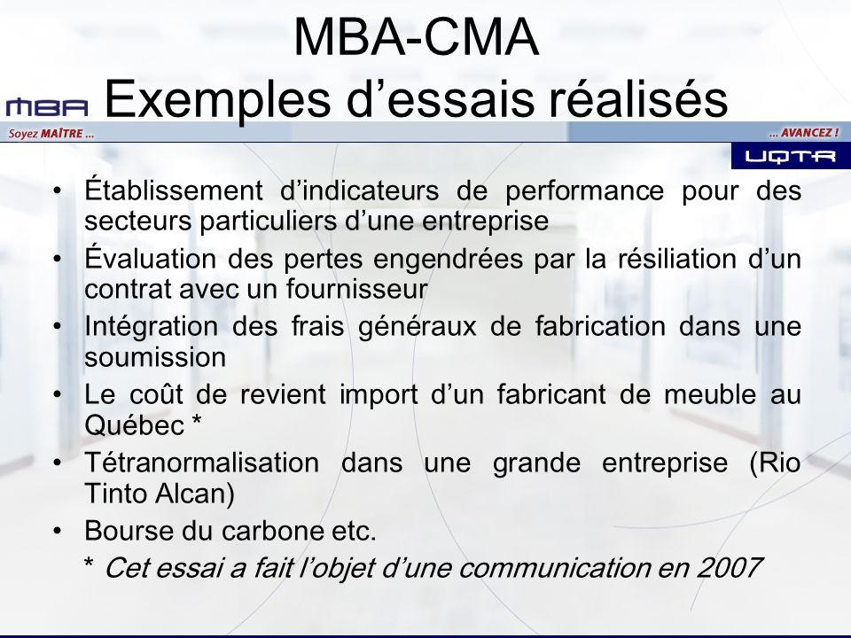 MBA-CMA Exemples dessais réalisés Établissement dindicateurs de performance pour des secteurs particuliers dune entreprise Évaluation des pertes engen