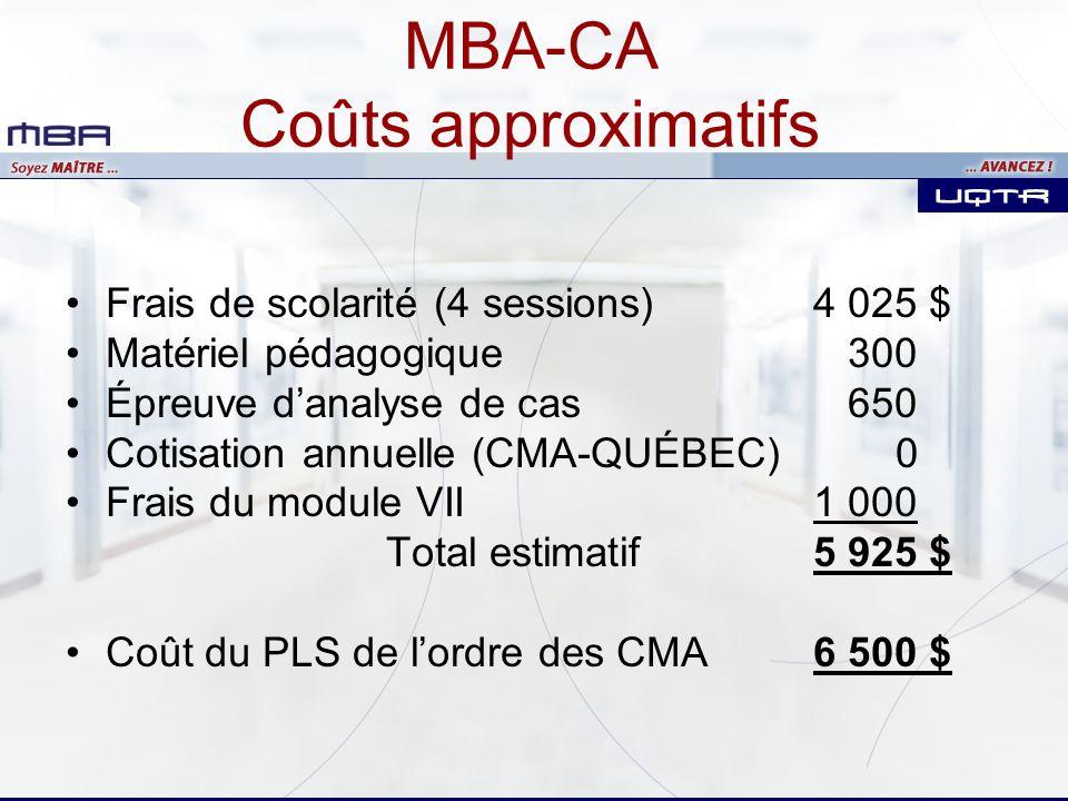 MBA-CA Coûts approximatifs Frais de scolarité (4 sessions) 4 025 $ Matériel pédagogique 300 Épreuve danalyse de cas 650 Cotisation annuelle (CMA-QUÉBE