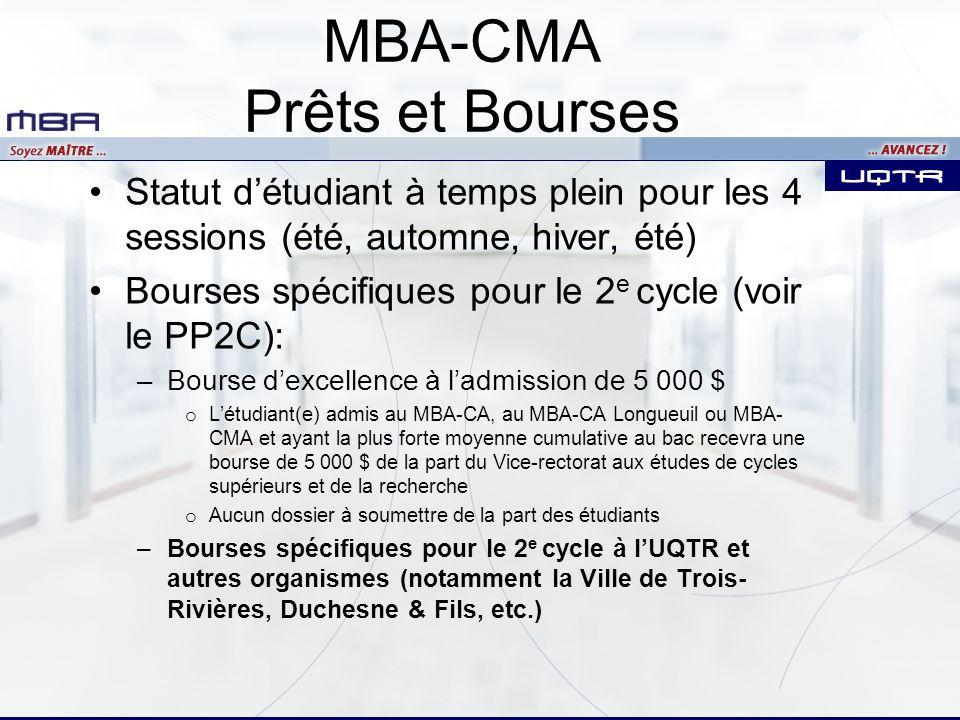 MBA-CMA Prêts et Bourses Statut détudiant à temps plein pour les 4 sessions (été, automne, hiver, été) Bourses spécifiques pour le 2 e cycle (voir le