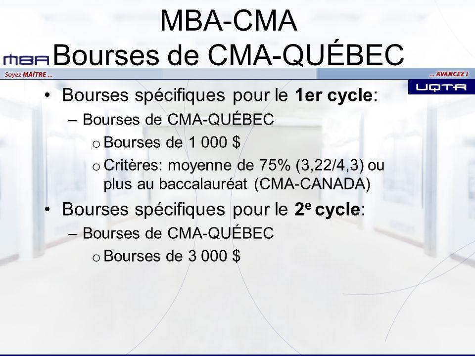 MBA-CMA Bourses de CMA-QUÉBEC Bourses spécifiques pour le 1er cycle: –Bourses de CMA-QUÉBEC o Bourses de 1 000 $ o Critères: moyenne de 75% (3,22/4,3) ou plus au baccalauréat (CMA-CANADA) Bourses spécifiques pour le 2 e cycle: –Bourses de CMA-QUÉBEC o Bourses de 3 000 $