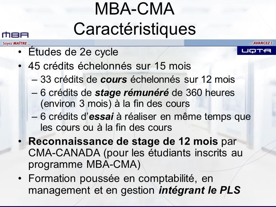 MBA-CMA Caractéristiques Études de 2e cycle 45 crédits échelonnés sur 15 mois –33 crédits de cours échelonnés sur 12 mois –6 crédits de stage rémunéré