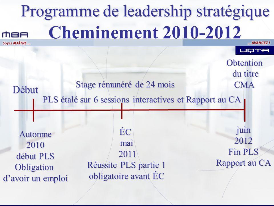 Début ÉCmai 2011 2011 Réussite PLS partie 1 obligatoire avant ÉC PLS étalé sur 6 sessions interactives et Rapport au CA Stage rémunéré de 24 mois Prog