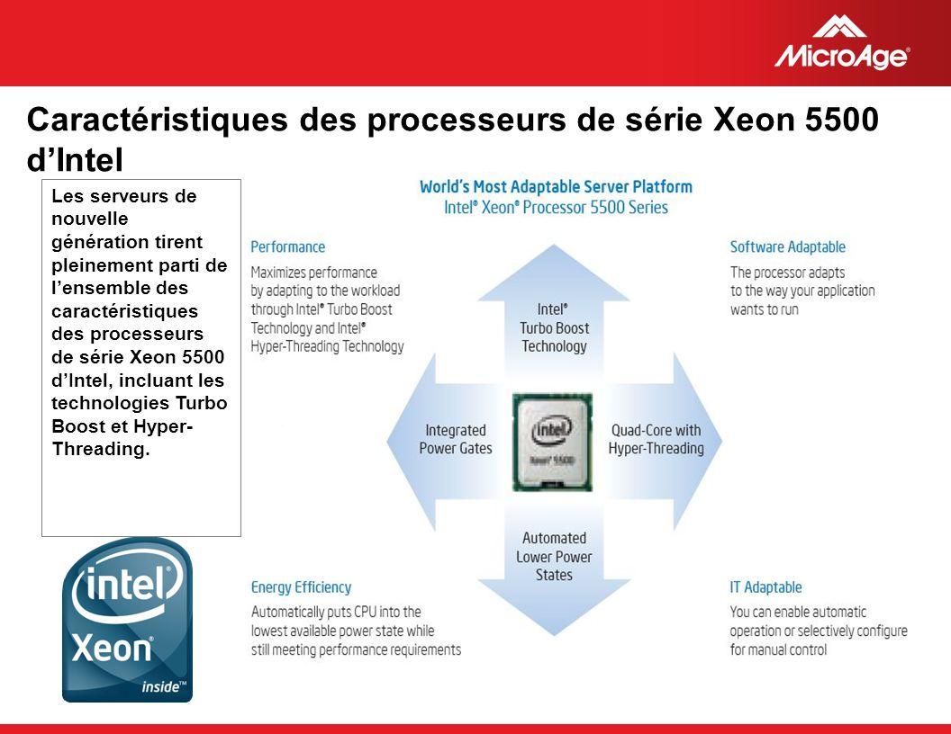 © 2006 MicroAge Caractéristiques des processeurs de série Xeon 5500 dIntel Les serveurs de nouvelle génération tirent pleinement parti de lensemble de