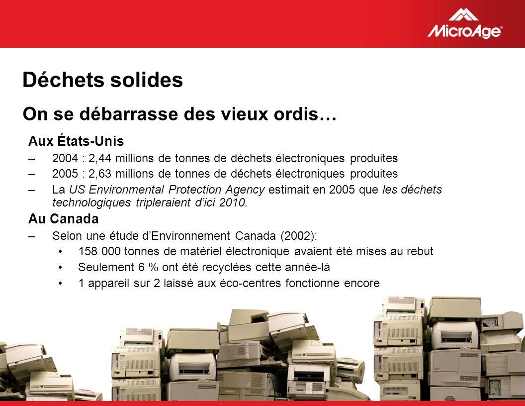 © 2006 MicroAge On se débarrasse des vieux ordis… Aux États-Unis –2004 : 2,44 millions de tonnes de déchets électroniques produites –2005 : 2,63 milli