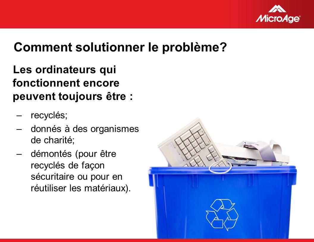 © 2006 MicroAge Comment solutionner le problème? Les ordinateurs qui fonctionnent encore peuvent toujours être : –recyclés; –donnés à des organismes d