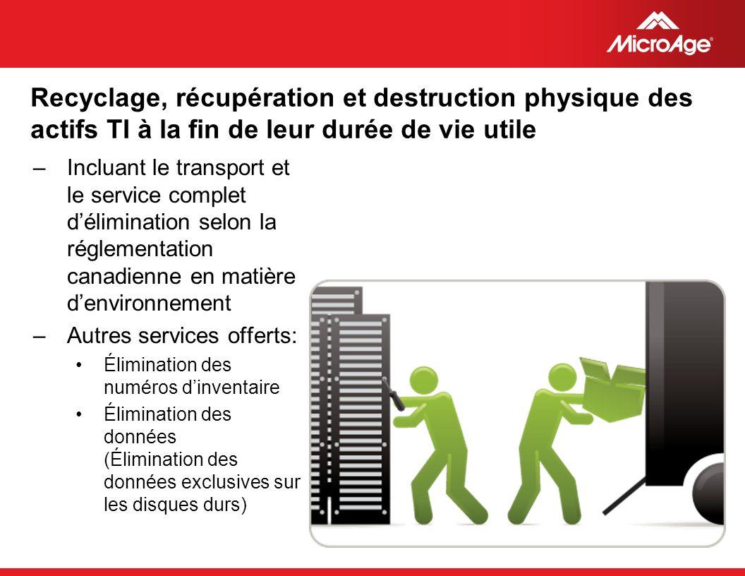 © 2006 MicroAge Recyclage, récupération et destruction physique des actifs TI à la fin de leur durée de vie utile –Incluant le transport et le service