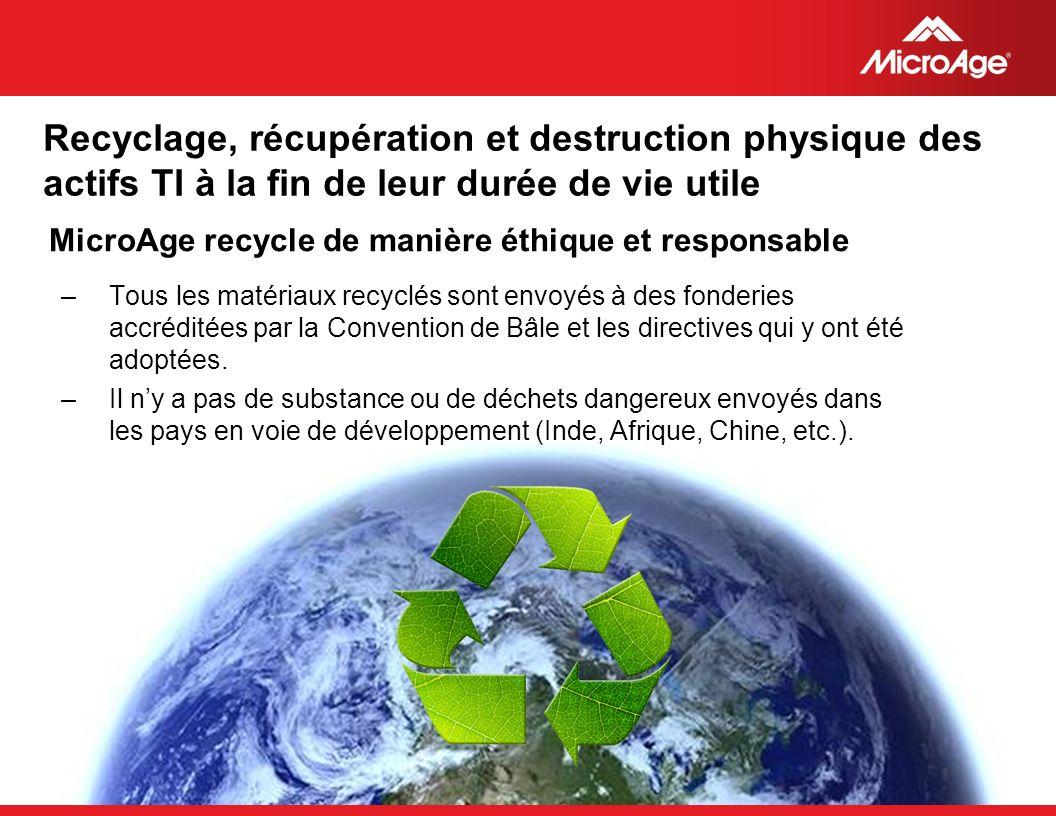 © 2006 MicroAge Recyclage, récupération et destruction physique des actifs TI à la fin de leur durée de vie utile MicroAge recycle de manière éthique