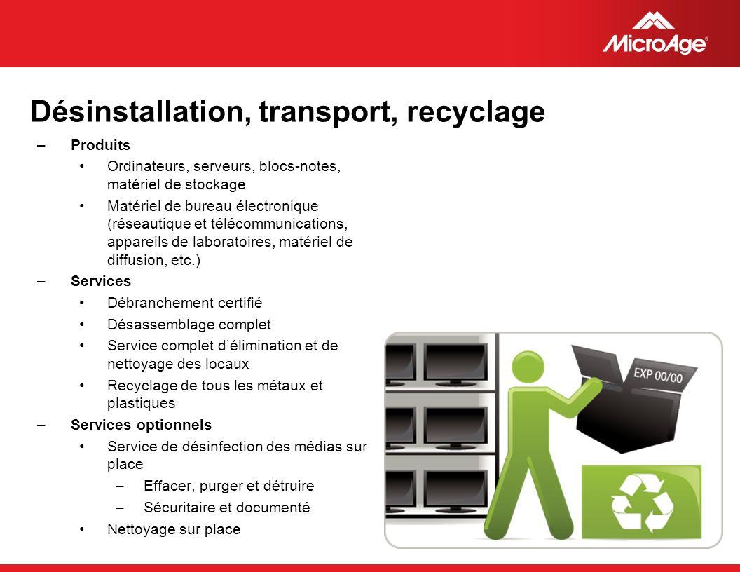 © 2006 MicroAge Désinstallation, transport, recyclage –Produits Ordinateurs, serveurs, blocs-notes, matériel de stockage Matériel de bureau électroniq