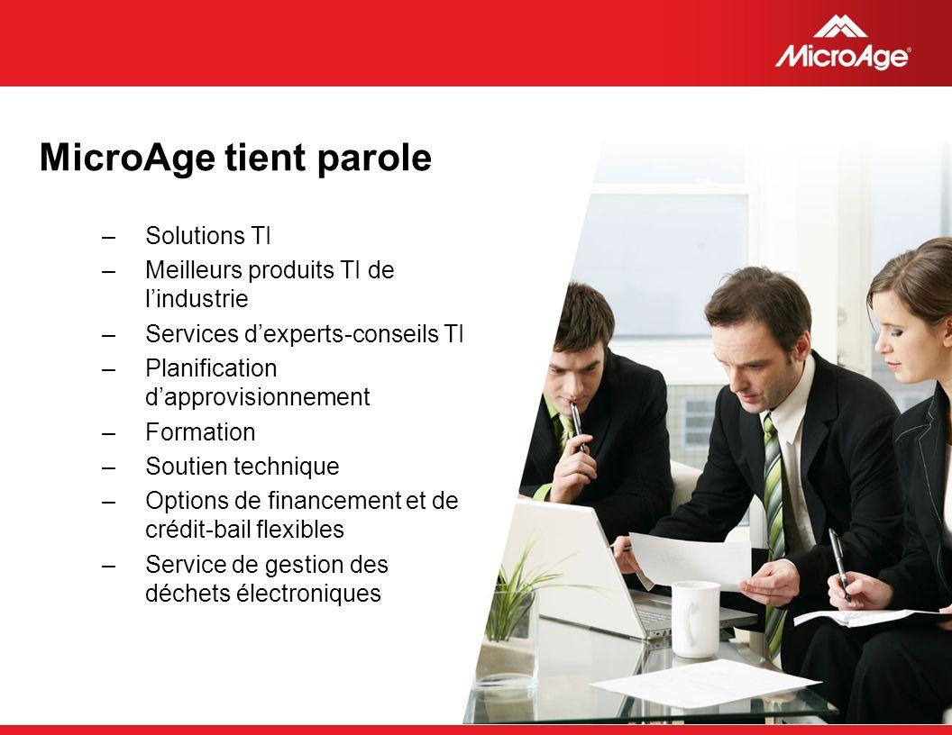 © 2006 MicroAge MicroAge tient parole –Solutions TI –Meilleurs produits TI de lindustrie –Services dexperts-conseils TI –Planification dapprovisionnem