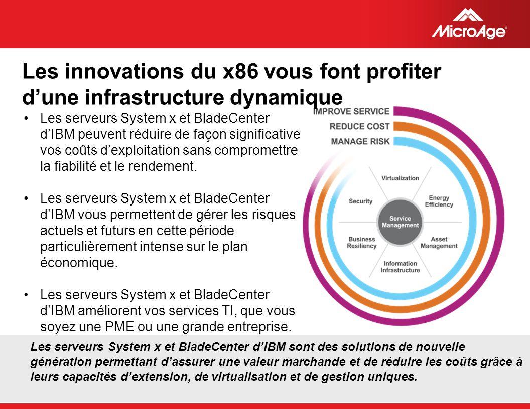 © 2006 MicroAge Les serveurs System x et BladeCenter dIBM sont des solutions de nouvelle génération permettant dassurer une valeur marchande et de réd