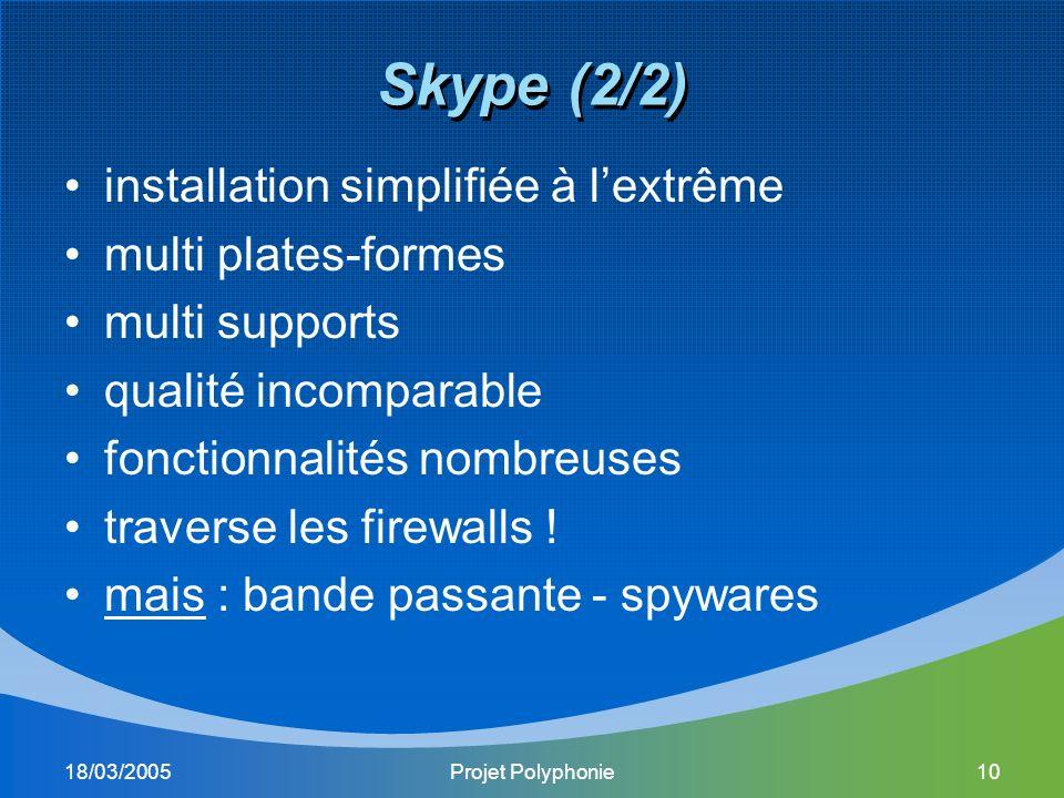 18/03/2005Projet Polyphonie10 Skype (2/2) installation simplifiée à lextrême multi plates-formes multi supports qualité incomparable fonctionnalités nombreuses traverse les firewalls .