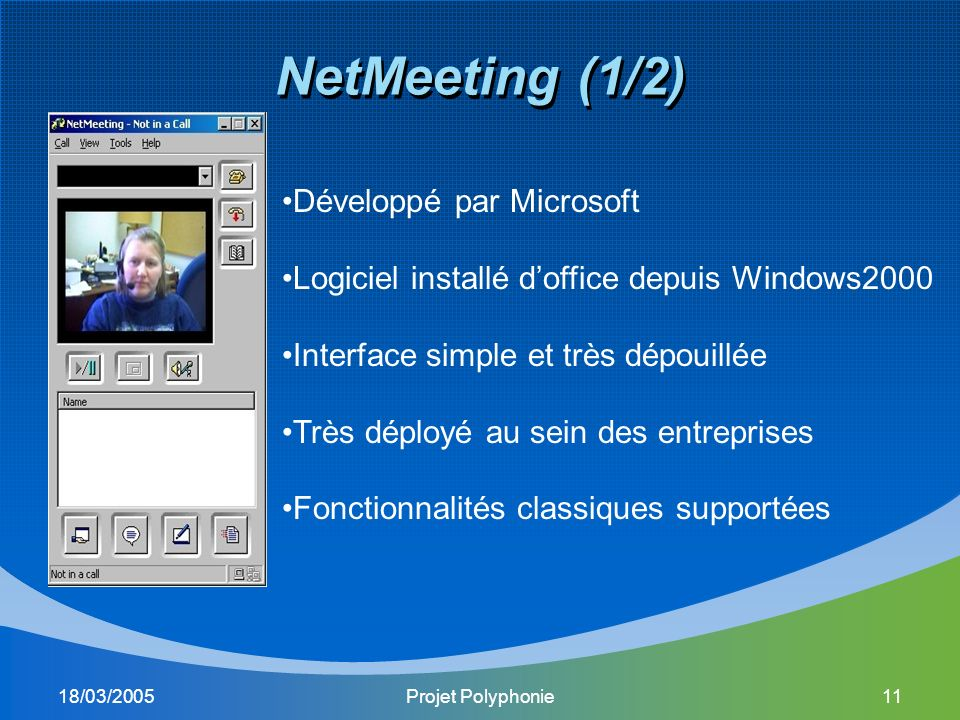 18/03/2005Projet Polyphonie11 NetMeeting (1/2) Développé par Microsoft Logiciel installé doffice depuis Windows2000 Interface simple et très dépouillée Très déployé au sein des entreprises Fonctionnalités classiques supportées