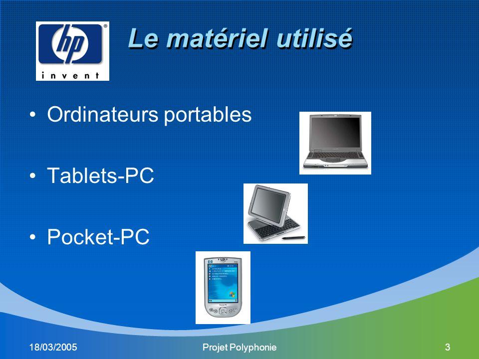 18/03/2005Projet Polyphonie3 Le matériel utilisé Ordinateurs portables Tablets-PC Pocket-PC