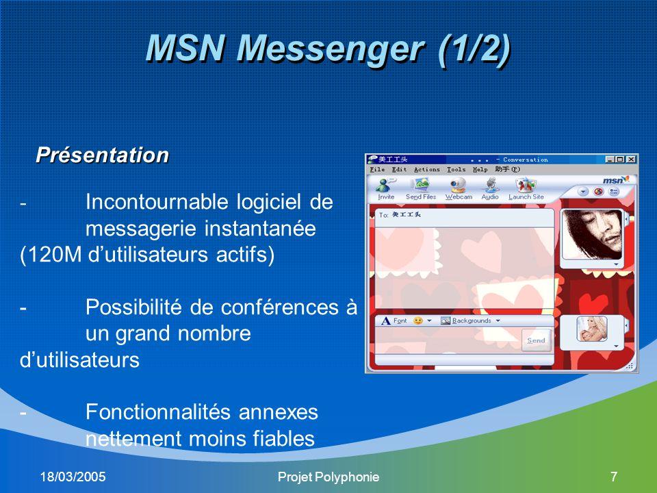 18/03/2005Projet Polyphonie7 MSN Messenger (1/2) Présentation - Incontournable logiciel de messagerie instantanée (120M dutilisateurs actifs) -Possibilité de conférences à un grand nombre dutilisateurs -Fonctionnalités annexes nettement moins fiables