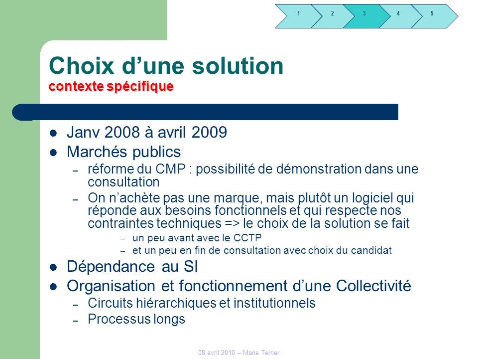 1245 3 08 avril 2010 – Marie Terrier contexte spécifique Choix dune solution contexte spécifique Janv 2008 à avril 2009 Marchés publics – réforme du C