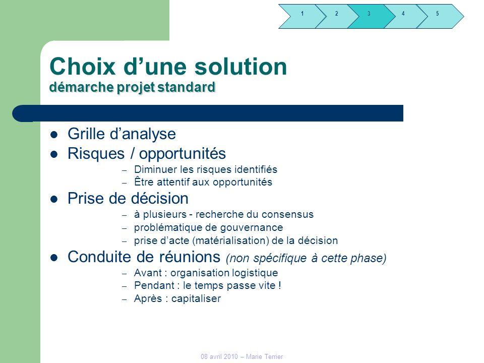 1245 3 08 avril 2010 – Marie Terrier démarche projet standard Choix dune solution démarche projet standard Grille danalyse Risques / opportunités – Di