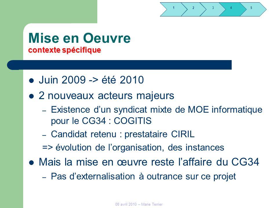 1245 3 contexte spécifique Mise en Oeuvre contexte spécifique Juin 2009 -> été 2010 2 nouveaux acteurs majeurs – Existence dun syndicat mixte de MOE i