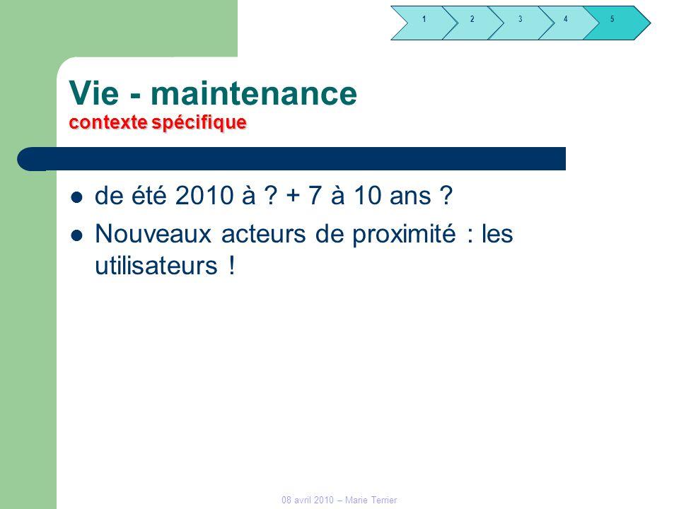 1245 3 08 avril 2010 – Marie Terrier contexte spécifique Vie - maintenance contexte spécifique de été 2010 à ? + 7 à 10 ans ? Nouveaux acteurs de prox