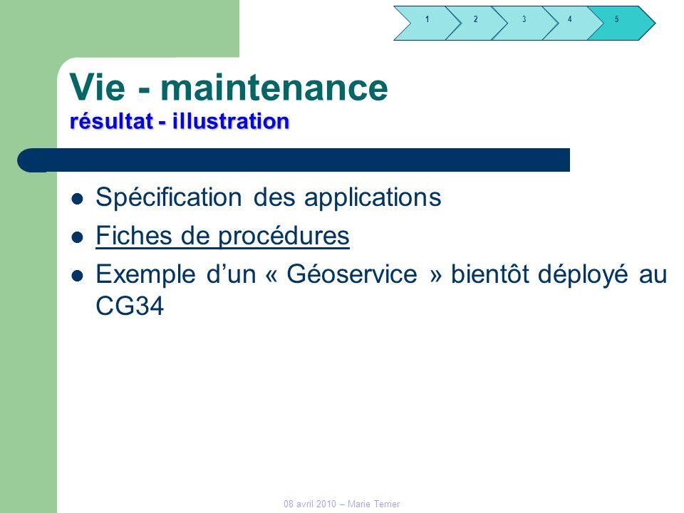 1245 3 08 avril 2010 – Marie Terrier résultat - illustration Vie - maintenance résultat - illustration Spécification des applications Fiches de procéd