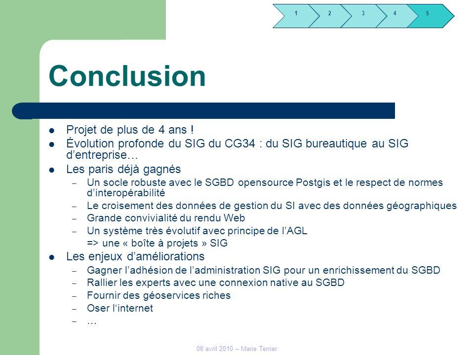 1245 3 08 avril 2010 – Marie Terrier Conclusion Projet de plus de 4 ans ! Évolution profonde du SIG du CG34 : du SIG bureautique au SIG dentreprise… L