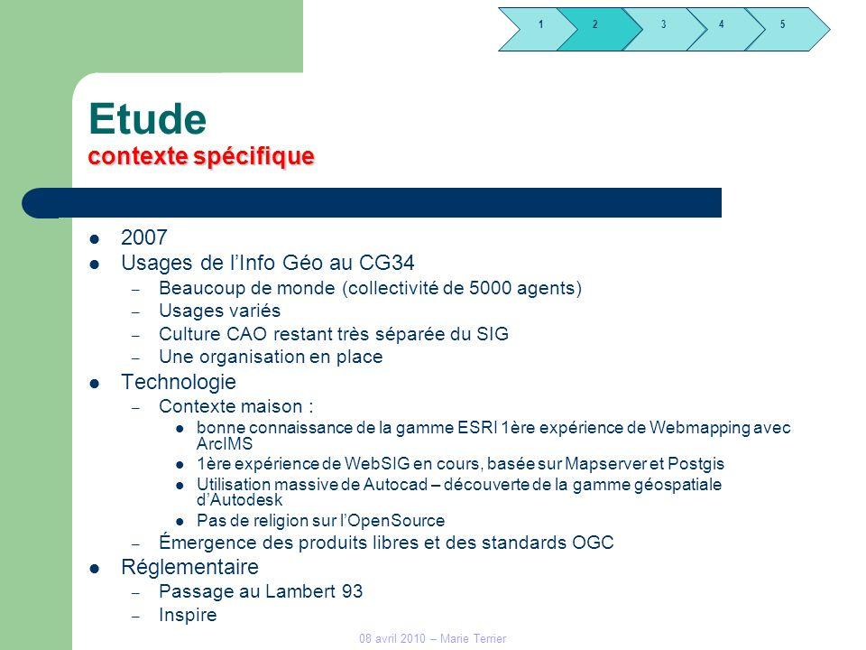 1245 3 08 avril 2010 – Marie Terrier contexte spécifique Etude contexte spécifique 2007 Usages de lInfo Géo au CG34 – Beaucoup de monde (collectivité