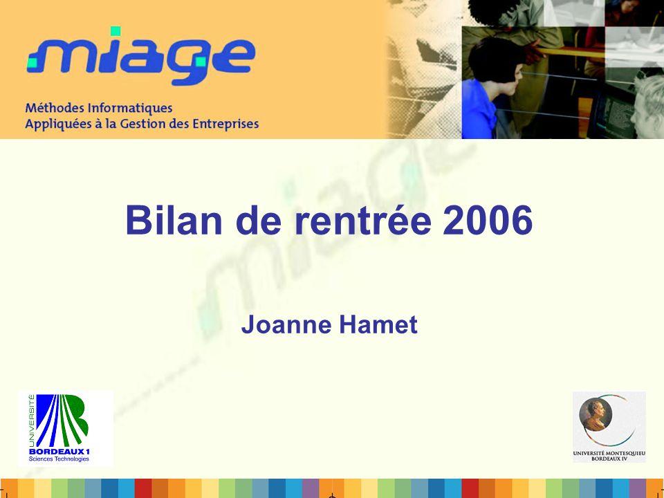 Bilan de rentrée 2006 Joanne Hamet