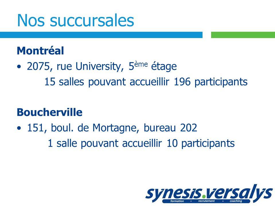 Nos succursales Montréal 2075, rue University, 5 ème étage 15 salles pouvant accueillir 196 participants Boucherville 151, boul. de Mortagne, bureau 2