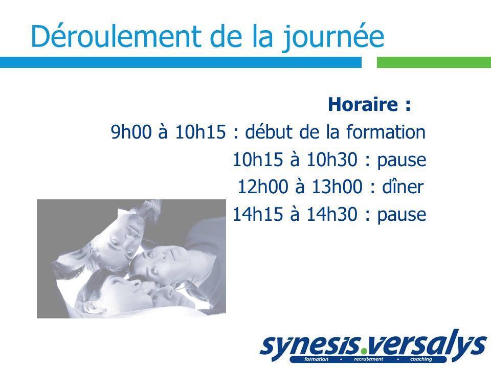 Déroulement de la journée Horaire : 9h00 à 10h15 : début de la formation 10h15 à 10h30 : pause 12h00 à 13h00 : dîner 14h15 à 14h30 : pause