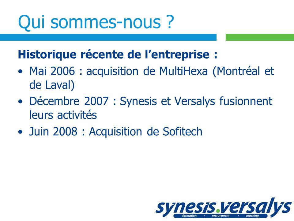 Historique récente de lentreprise : Mai 2006 : acquisition de MultiHexa (Montréal et de Laval) Décembre 2007 : Synesis et Versalys fusionnent leurs ac