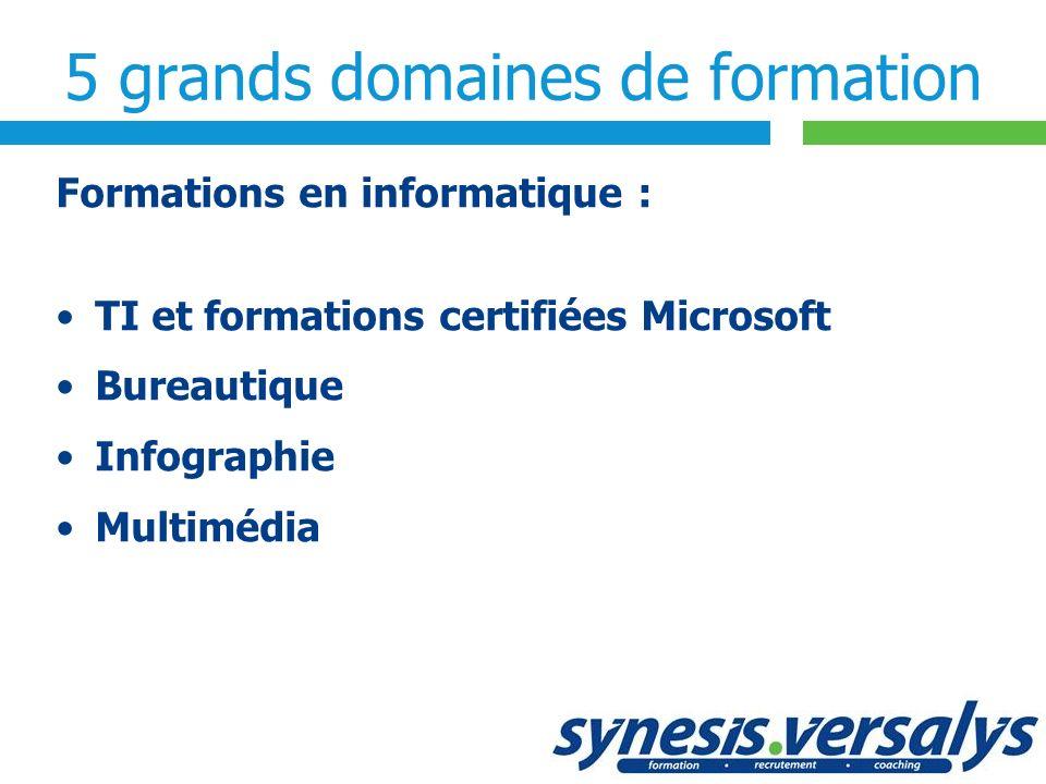 5 grands domaines de formation Formations en informatique : TI et formations certifiées Microsoft Bureautique Infographie Multimédia