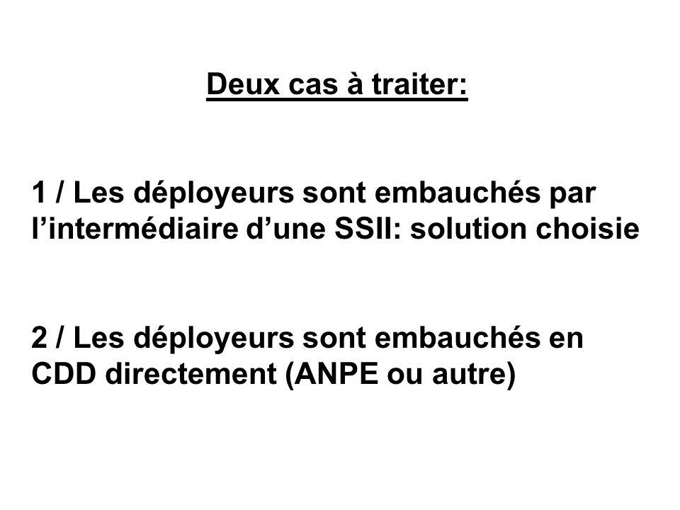 Deux cas à traiter: 1 / Les déployeurs sont embauchés par lintermédiaire dune SSII: solution choisie 2 / Les déployeurs sont embauchés en CDD directem