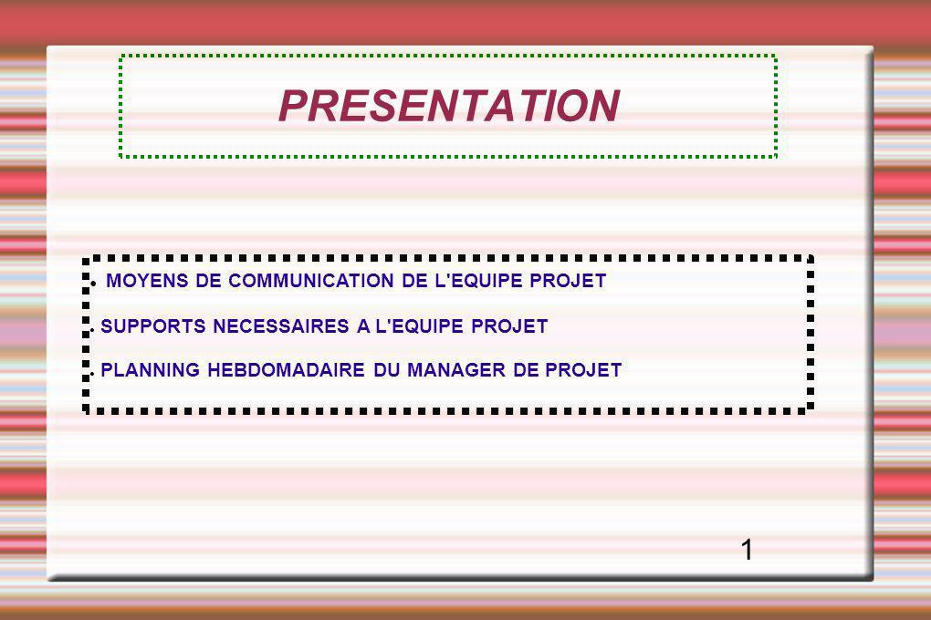 PRESENTATION MOYENS DE COMMUNICATION DE L'EQUIPE PROJET SUPPORTS NECESSAIRES A L'EQUIPE PROJET PLANNING HEBDOMADAIRE DU MANAGER DE PROJET 1
