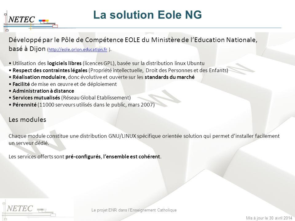 Mis à jour le 30 avril 2014 Le projet ENR dans lEnseignement Catholique Développé par le Pôle de Compétence EOLE du Ministère de lEducation Nationale,