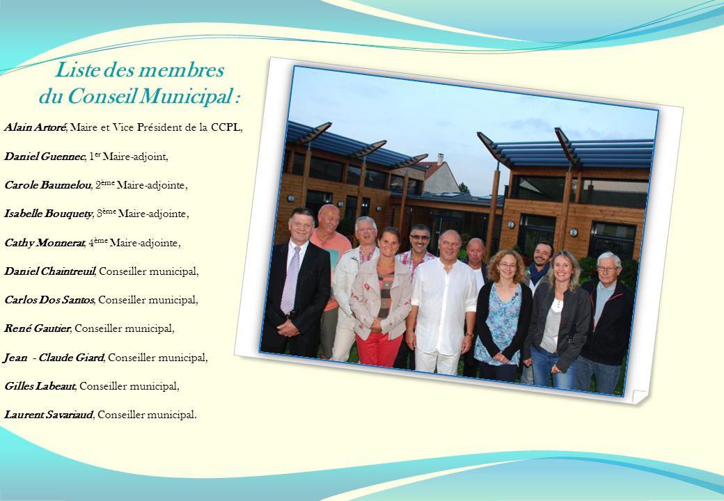 Liste des membres du Conseil Municipal : Alain Artoré, Maire et Vice Président de la CCPL, Daniel Guennec, 1 er Maire-adjoint, Carole Baumelou, 2 ème