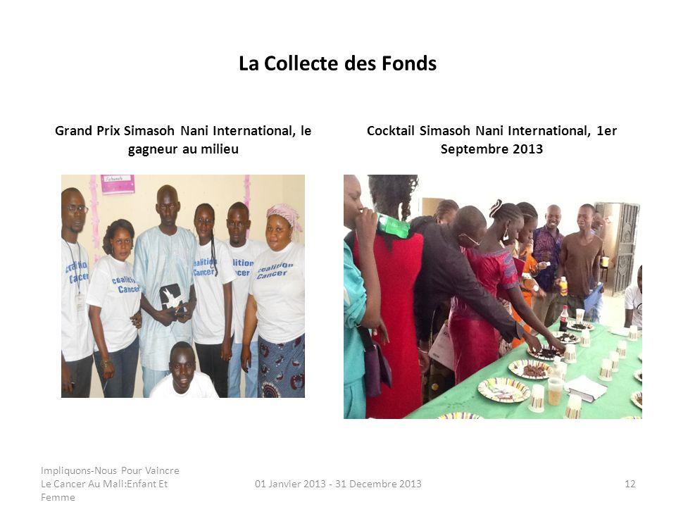 La Collecte des Fonds Grand Prix Simasoh Nani International, le gagneur au milieu Cocktail Simasoh Nani International, 1er Septembre 2013 Impliquons-N