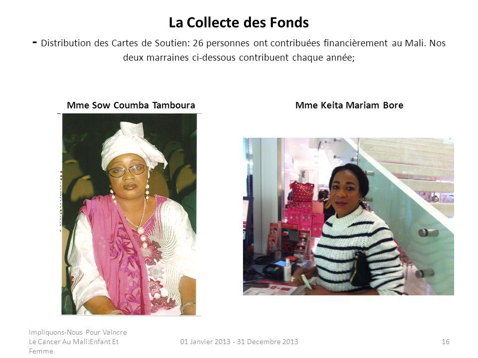 La Collecte des Fonds - Distribution des Cartes de Soutien: 26 personnes ont contribuées financièrement au Mali. Nos deux marraines ci-dessous contrib