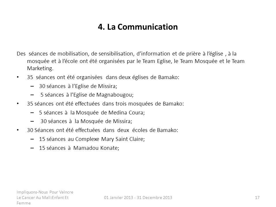 4. La Communication Des séances de mobilisation, de sensibilisation, dinformation et de prière à léglise, à la mosquée et à lécole ont été organisées