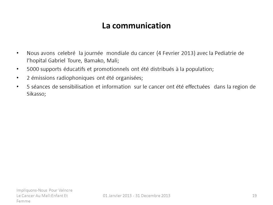 La communication Nous avons celebré la journée mondiale du cancer (4 Fevrier 2013) avec la Pediatrie de lhopital Gabriel Toure, Bamako, Mali; 5000 sup