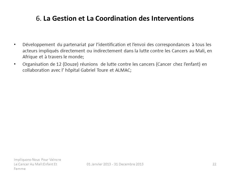 6. La Gestion et La Coordination des Interventions Développement du partenariat par lidentification et lenvoi des correspondances à tous les acteurs i