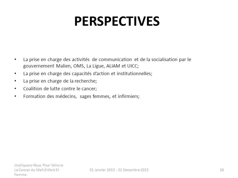 PERSPECTIVES La prise en charge des activités de communication et de la socialisation par le gouvernement Malien, OMS, La Ligue, ALIAM et UICC; La pri