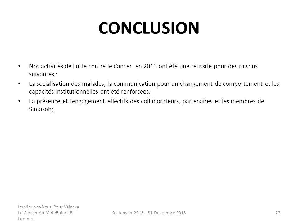 CONCLUSION Nos activités de Lutte contre le Cancer en 2013 ont été une réussite pour des raisons suivantes : La socialisation des malades, la communic