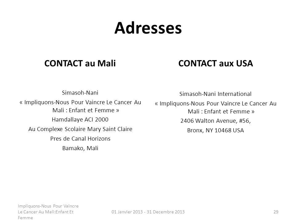Adresses CONTACT au Mali Simasoh-Nani « Impliquons-Nous Pour Vaincre Le Cancer Au Mali : Enfant et Femme » Hamdallaye ACI 2000 Au Complexe Scolaire Ma